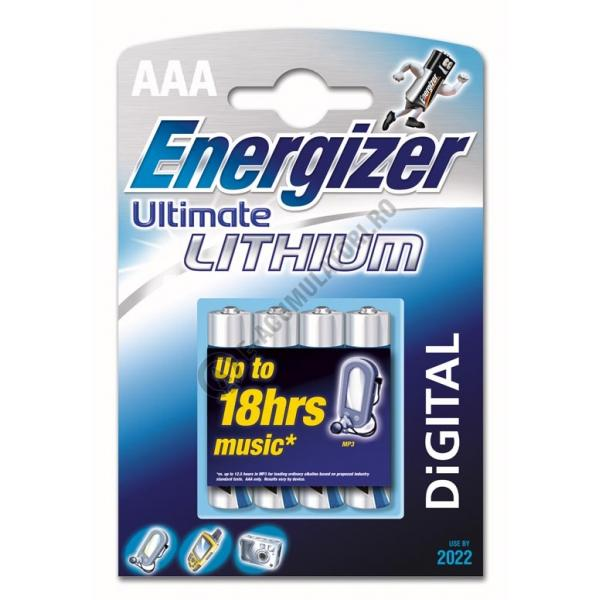 Baterii Ultimate Lithium AAA, blister de 4 buc.-big