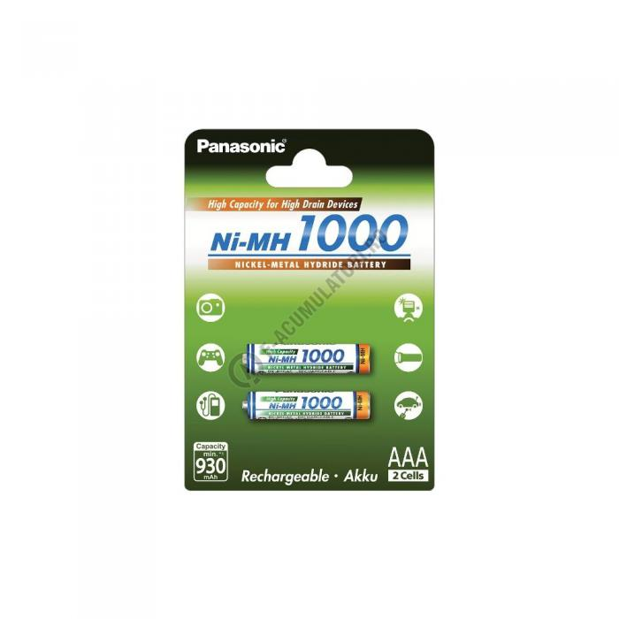 Acumulatori Panasonic AAA, 1000mAh, blister de 2 buc. BK-4HGAE/2BE-big