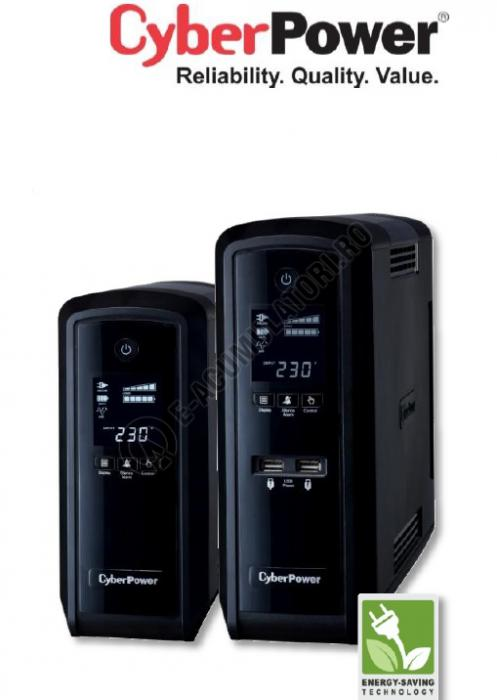 UPS Cyber Power CP1500EPFCLCD Line-Interactive 1500VA 900W AVR, LCD Display, 6 Schuko outlets, USB & Serial port-big